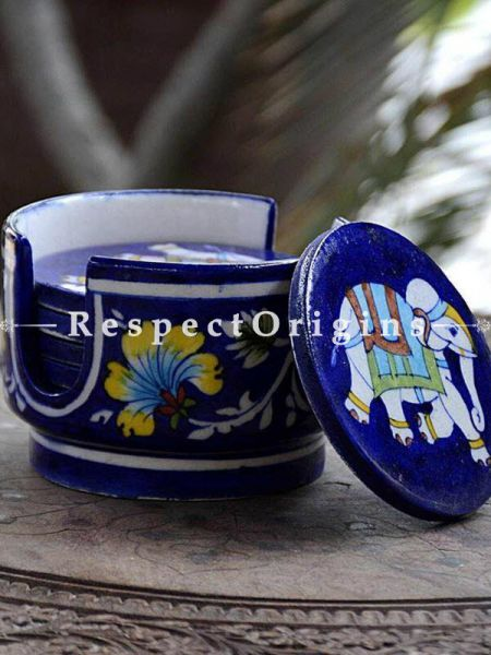 Buy Round Set of 6 Ceramic Coasters With Holder in Blue Base With Elephant Design; Handcrafted Jaipuri Blue Pottery; Dia - 4 in At RespectOrigins.com