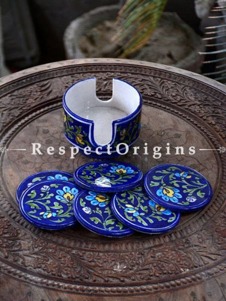 Buy Beautiful Ceramic Coasters With Holder in Blue Base With Yellow & Green Floral Design; Set of 6 Handcrafted Jaipuri Blue Pottery; Dia - 4 in At RespectOrigins.com