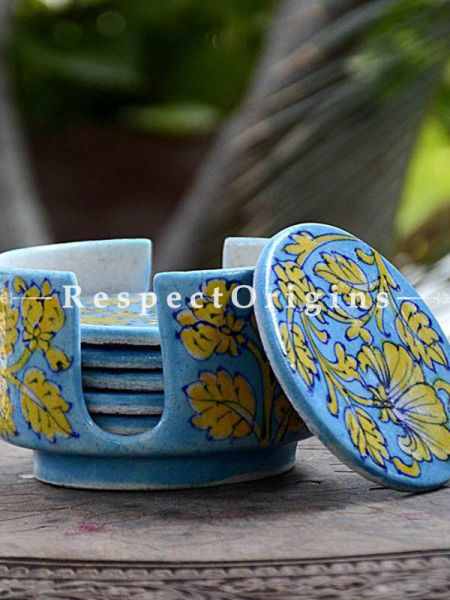 Buy Round Set of 6 Ceramic Coasters With Holder in Light Blue Base With Yellow Floral Design; Handcrafted Jaipuri Blue Pottery; Dia - 4 in At RespectOrigins.com
