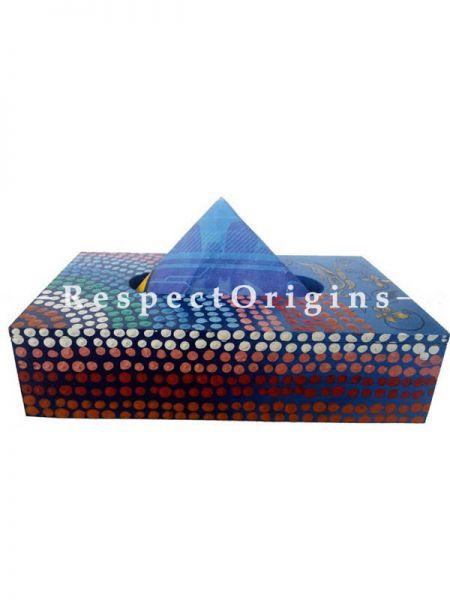 Buy Blue Rectangular Hand-painted Tissue Holder or Napkin box; Wood At RespectOrigins.com