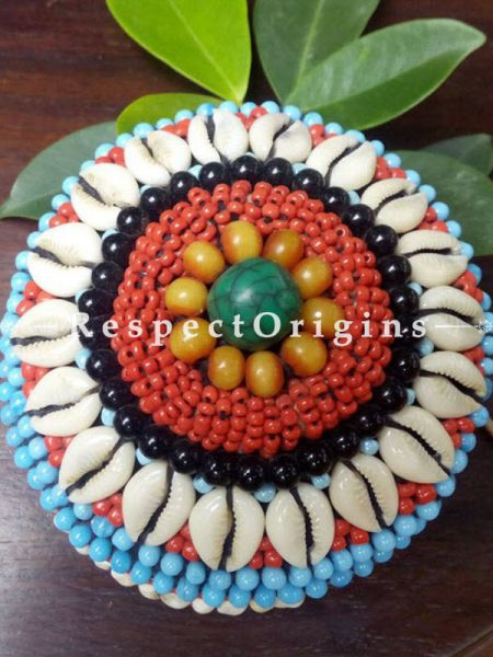 Blue, red and black Jewellery Box With Beads and Sea Shells; Ladakhi Beaded Container; RespectOrigins.com