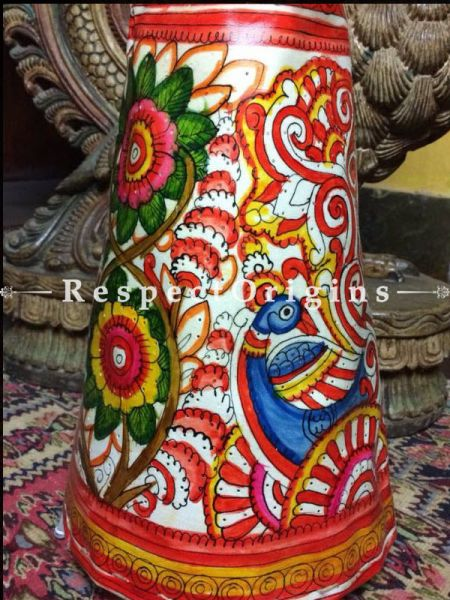 Buy Floor lamp; Leather Lampshade; Handmade Blue-red green and Pink yellow Peacock & Flowers Painted Cylindrical Lampshade; 12 in At RespectOrigins.com