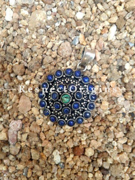 Round Pendant with German Silver and Lapis Lazuli, RespectOrigins.com