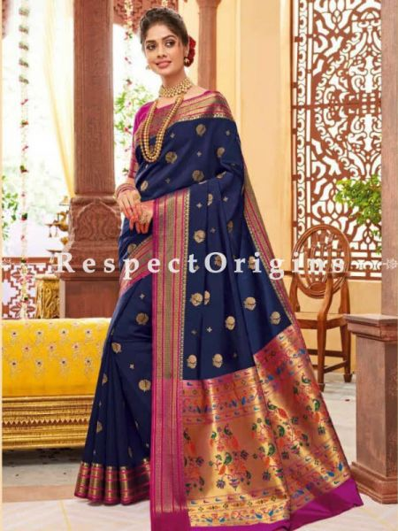 Blue Paithani Handloom Silk Saree  with Zari Border; RespectOrigins.com