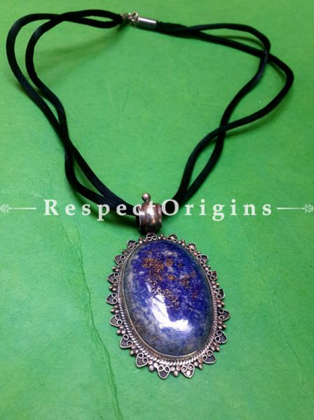 Oval shaped Silver Pendent With Lapis Lazuli, RespectOrigins.com
