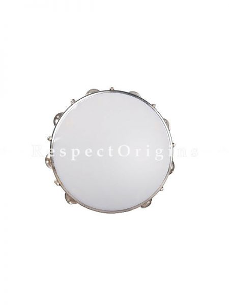 10 Inch Tambourine With Head; Blue; Indian Musical Instrument; RespectOrigins.com