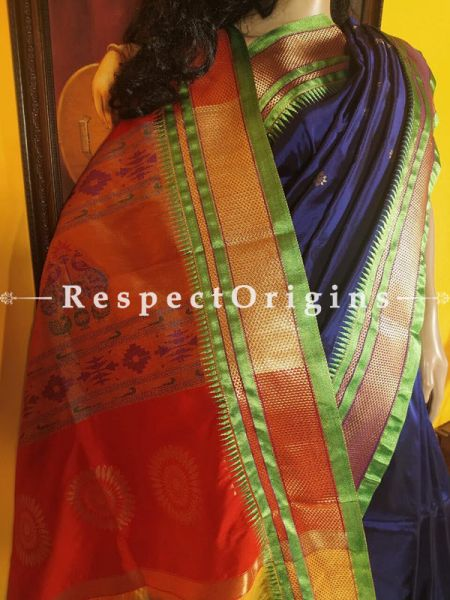 Blue with Parrot Green Zari Paithani Handloom Silk Saree ; RespectOrigins.com