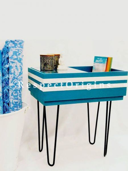 Buy Blue Wood and Iron Recomposed Side Table At RespectOrigins.com