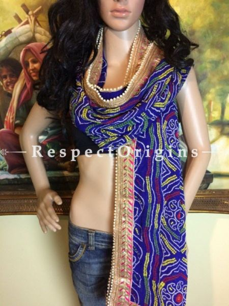 Buy Blue,Yellow n Gold Bandhani Georgette Stole at RespectOrigins.com