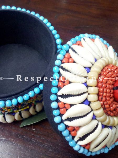 Blue and red Jewellery Box With Beads and Sea Shells; Ladakhi Beaded Container; RespectOrigins.com