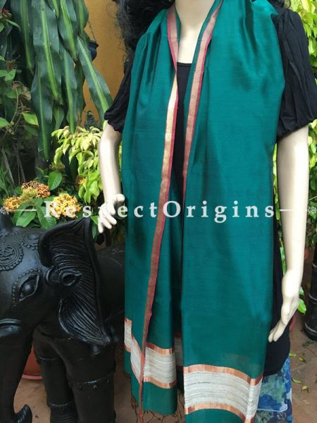 Handloom green Maheshwari Cotton silk stole with golden Jute work and red border 50x35 inches; RespectOrigins