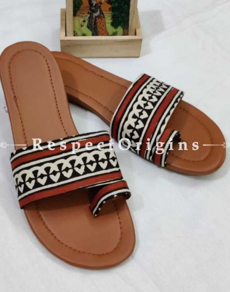 Boho Block-print Cotton Rubber-grip Sole Slip-ons; Red, Black and White