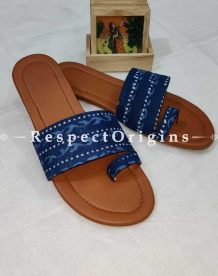Boho Block-print Cotton Rubber-grip Sole Slip-ons; Blue and White