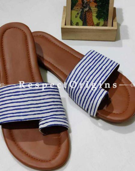 Boho Block-print Cotton Rubber-grip Sole Slip-ons; Red, Blue Stripes on White