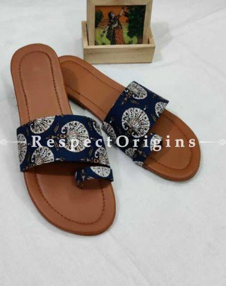 Boho Block-print Cotton Rubber-grip Sole Slip-ons; Blue Base White Floral Design