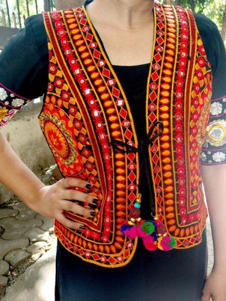 Boho Orange Festive Cotton Waistcoat Vests with Pom Pom Ties; RespectOrigins.com