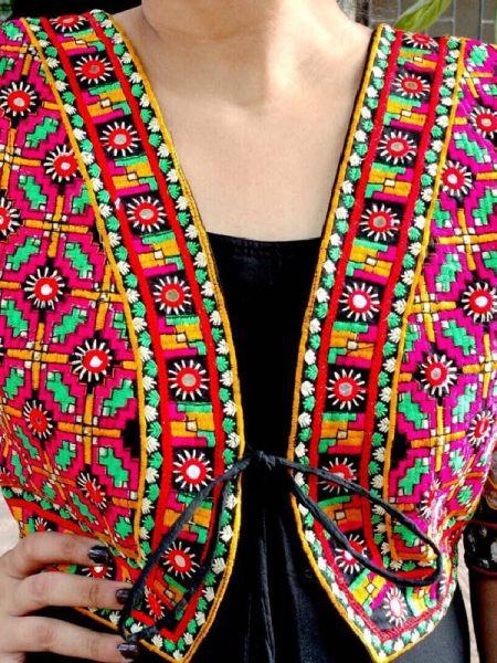 Boho Red Floral Festive Cotton Waistcoat Vests with Pom Pom Ties; RespectOrigins.com