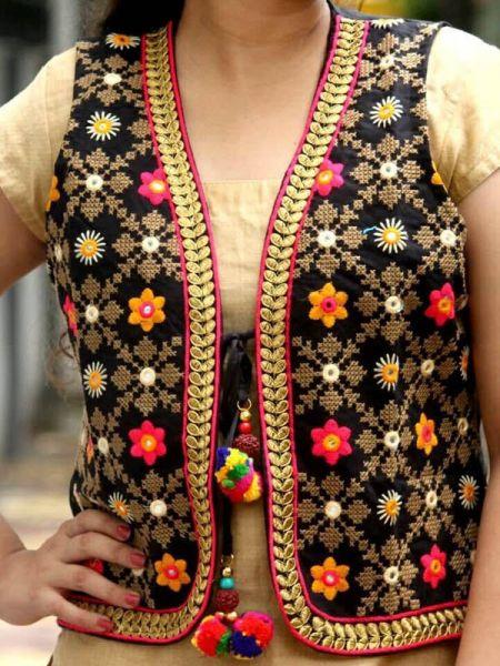 Boho Black Floral Festive Cotton Waistcoat Vests with Pom Pom Ties; RespectOrigins.com
