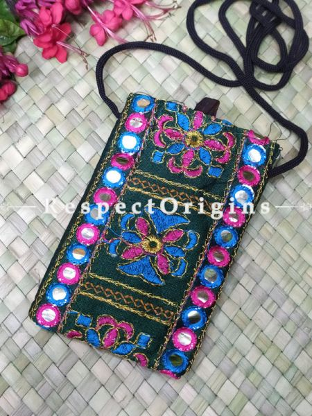 Boho Embroidered Green Mirror work Mobile Pouch Sling Bag ; 5 x 3 Inches; RespectOrigins.com