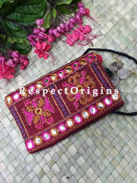 Red Boho Embroidered Mirror Work Mobile Pouch Sling Bag ; 5 x 3 Inches; RespectOrigins.com