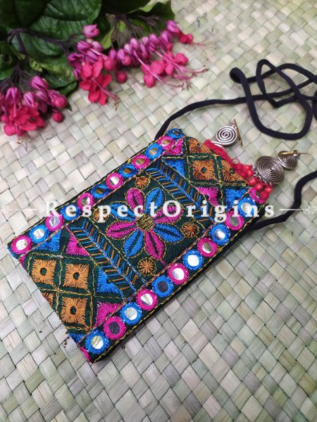 Green Boho Multi-Color Embroidered Mirror Work Mobile Pouch Sling Bag ; 5 x 3 Inches; RespectOrigins.com