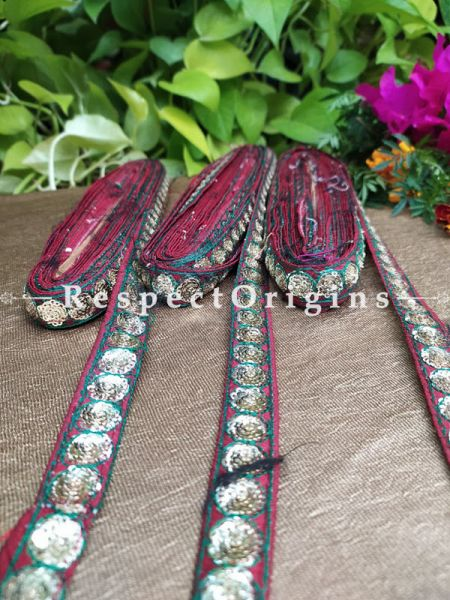 Beautiful Embroidered Silk Border; With Red Base & Golden Work; RespectOrigins.com