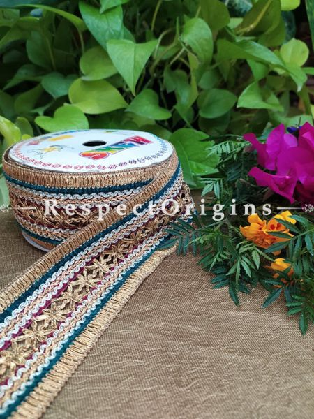 Beautiful Embroidered Silk Border; Multicoloured with Golden Work; RespectOrigins.com