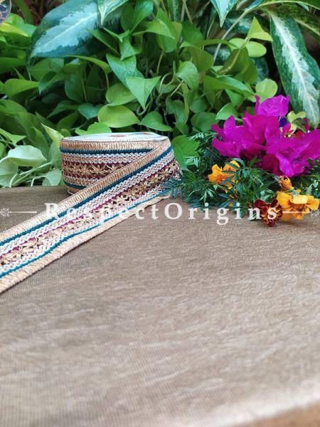 Beautiful Embroidered Silk Border; Multicoloured with Golden Work; RespectOrigins.com