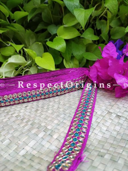 Beautiful Embroidered Silk Border; With Pink Base Mirror Work; RespectOrigins.com
