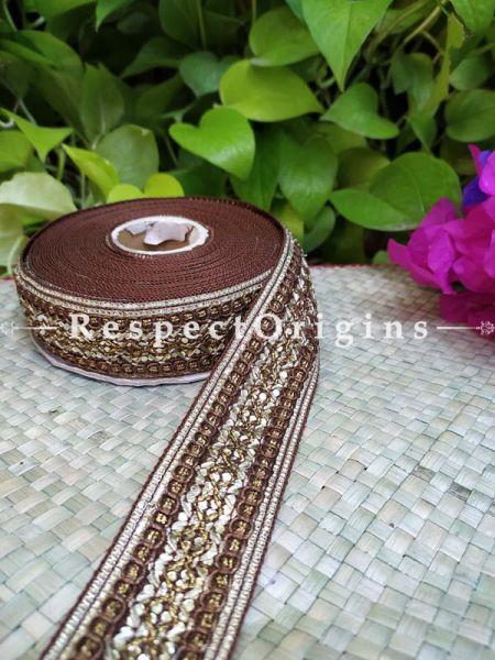 Beautiful Embroidered Silk Border; With Brown Base, Golden Work; RespectOrigins.com