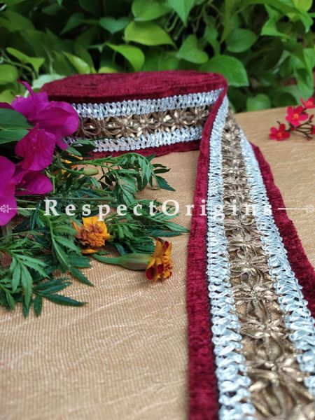 Gorgeous Lined Embroidered Silk Border; Red & White lines; RespectOrigins.com