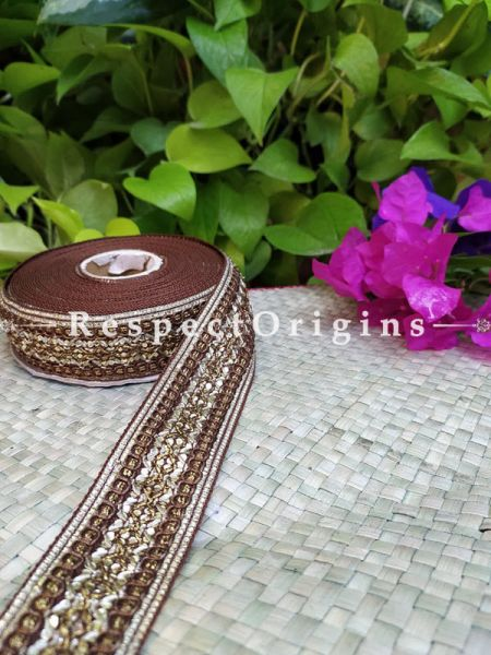Beautiful Embroidered Silk Border; With Brown Base, Golden Work; RespectOrigins.com