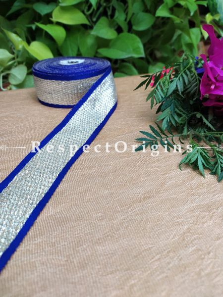 Beautiful Embroidered Silk Border; With Blue Base, Silver Work; RespectOrigins.com