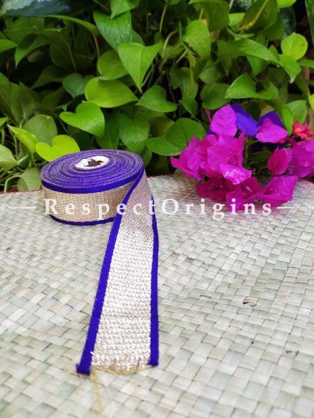 Beautiful Embroidered Silk Border; With Violet Base, Golden Work; RespectOrigins.com