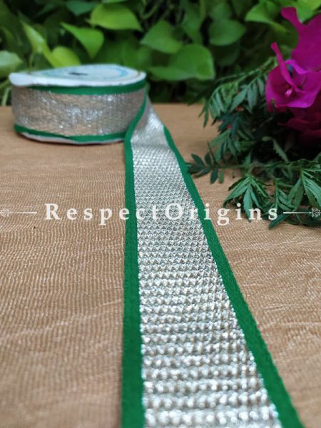 Gorgeous Lined Embroidered Silk Border; With Green Base & Silver Work; RespectOrigins.com