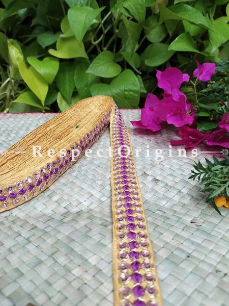 Gorgeous Lined Embroidered Silk Border; With Beige Base & Purple Work; RespectOrigins.com