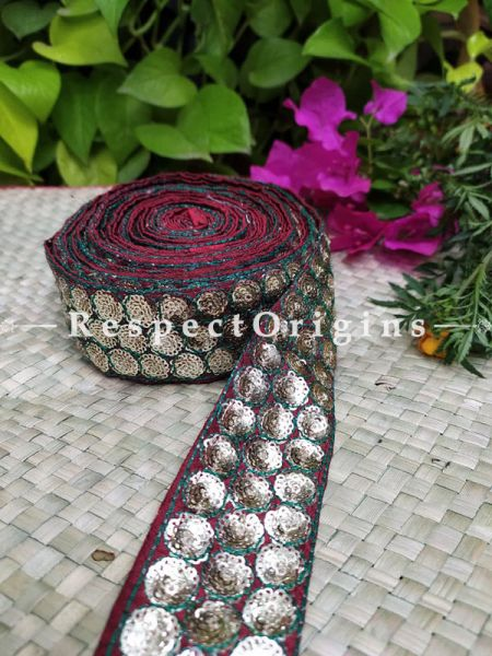 Gorgeous Lined Embroidered Silk Border; With Red Base & Silver Work; RespectOrigins.com