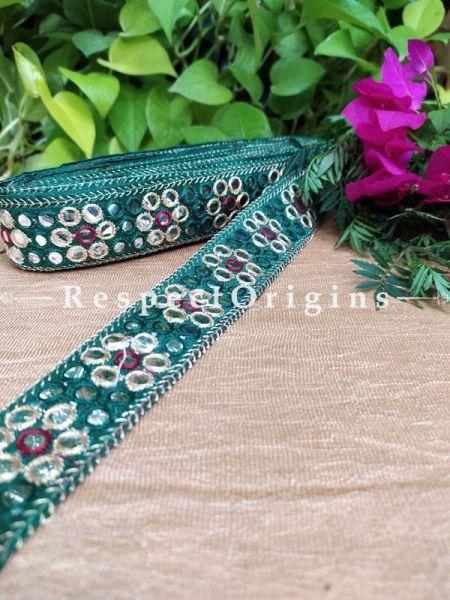 Beautiful Embroidered Silk Border; With Green Base Mirror Work; RespectOrigins.com