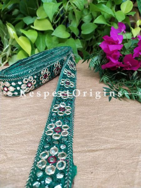 Beautiful Embroidered Silk Border; With Green Base Mirror Work; RespectOrigins.com
