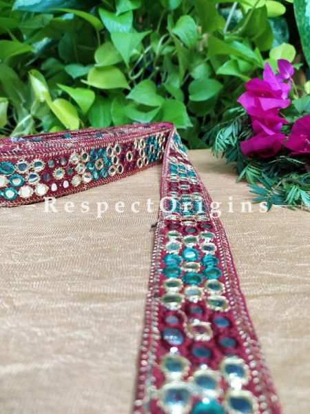 Beautiful Embroidered Silk Border; With Red Base Mirror Work; RespectOrigins.com