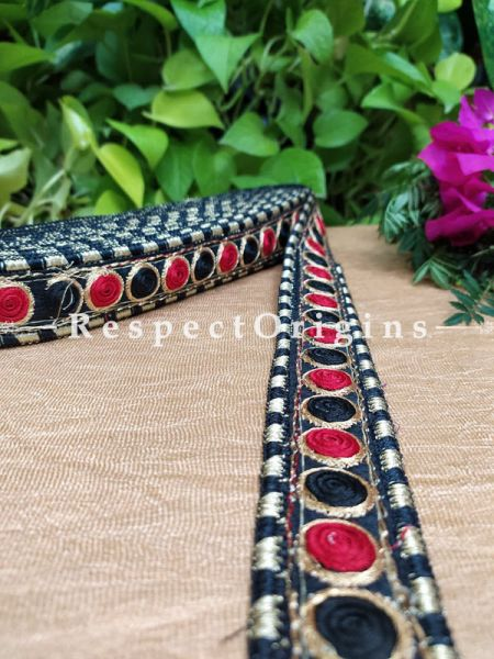 Beautiful Embroidered Silk Border; With Black Base & Red-Black Gota Work; RespectOrigins.com