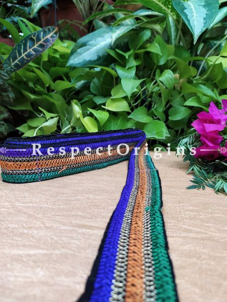 Beautiful Embroidered Silk Border; With Blue-Orange-Green Stripes Gota Work; RespectOrigins.com