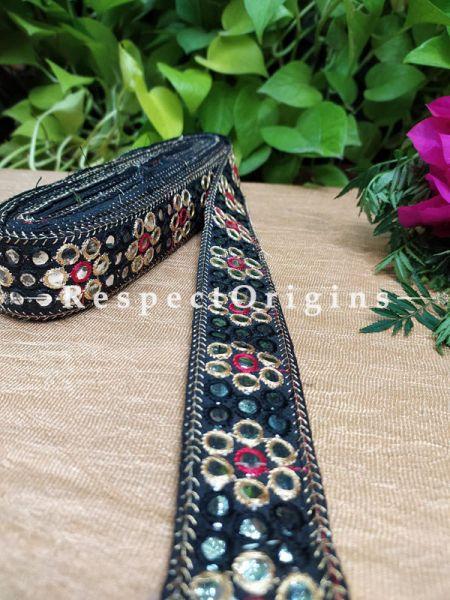 Beautiful Embroidered Silk Border; With Black Base Mirror Work; RespectOrigins.com