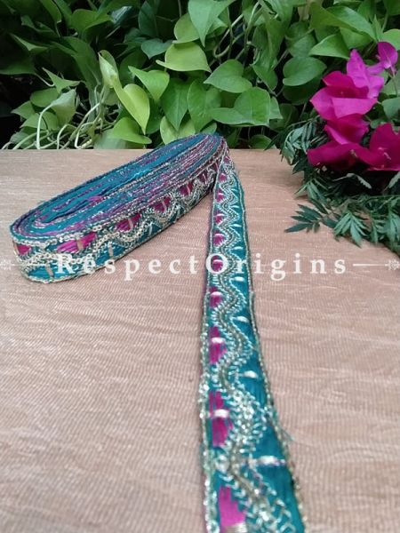 Beautiful Embroidered Silk Border; With Blue Base & Pink Gota Work; RespectOrigins.com