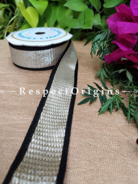 Beautiful Embroidered Silk Border; With Black Base & Silver Gota Work; RespectOrigins.com