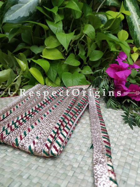 Vintage Embroidered Silk Border; With Multicoloured Gota Work; RespectOrigins.com