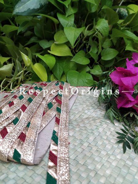 Vintage Embroidered Silk Border; With Multicoloured Base & Golden Gota Work; RespectOrigins.com