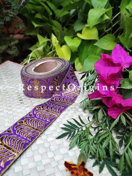 Vintage Embroidered Silk Border; With Blueviolet Base & Golden Gota Work; RespectOrigins.com