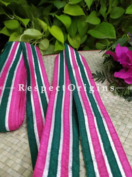 Gorgeous Lined Embroidered Silk Border; Pink & Green; RespectOrigins.com