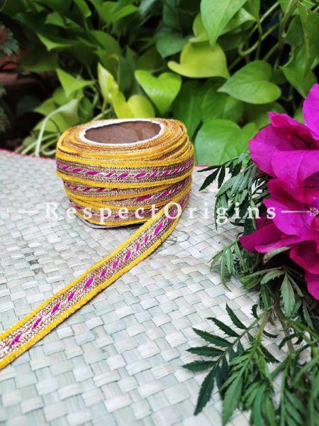 Beautiful Embroidered Silk Border; With Yellow Base & Pink-Golden Gota Work; RespectOrigins.com